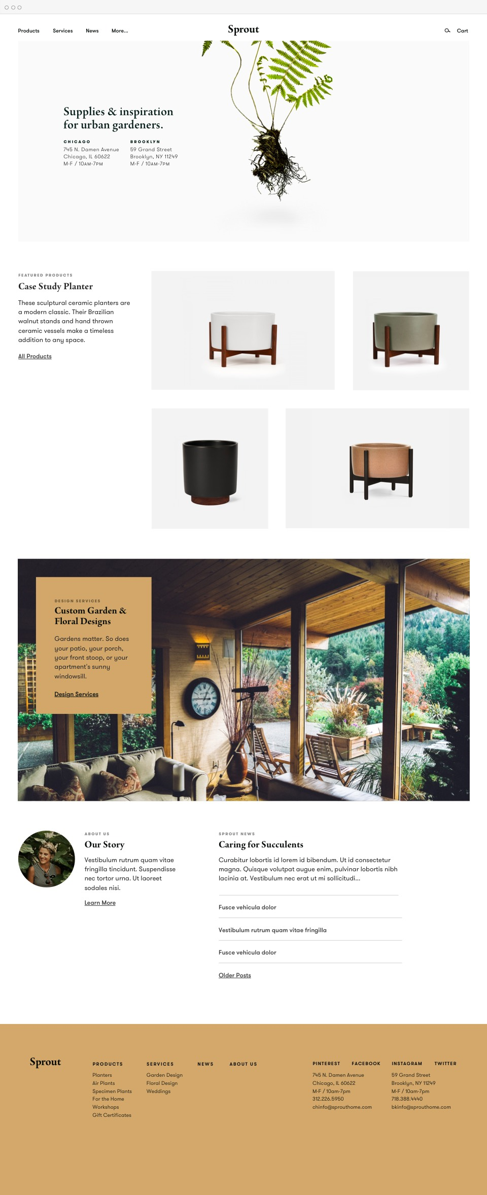 Sprout homepage design