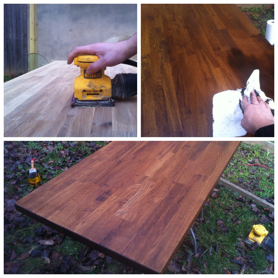 Sanding and staining the desk top