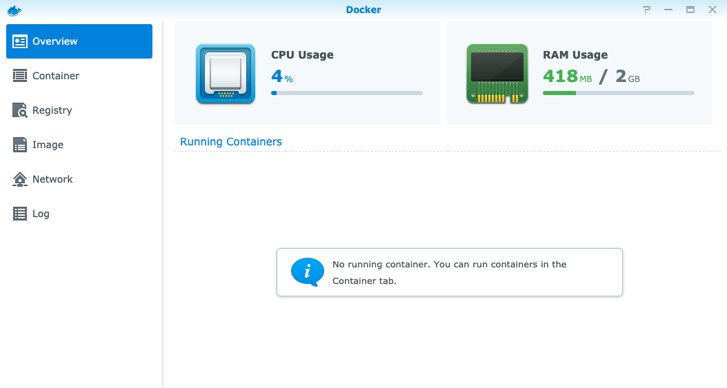 Docker Container Overview Page