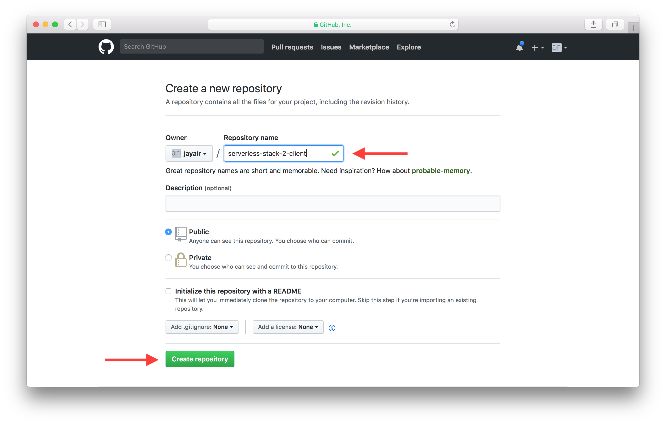 Name new client GitHub repository screenshot