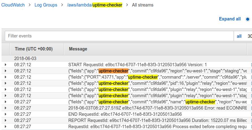 uptime-checker cloudwatch logs