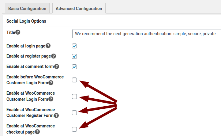Unikname Connect for WordPress advanced configuration, with configurations for WooCommerce