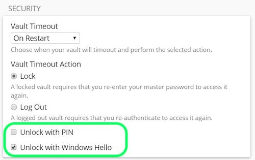 Unlock with Windows Hello