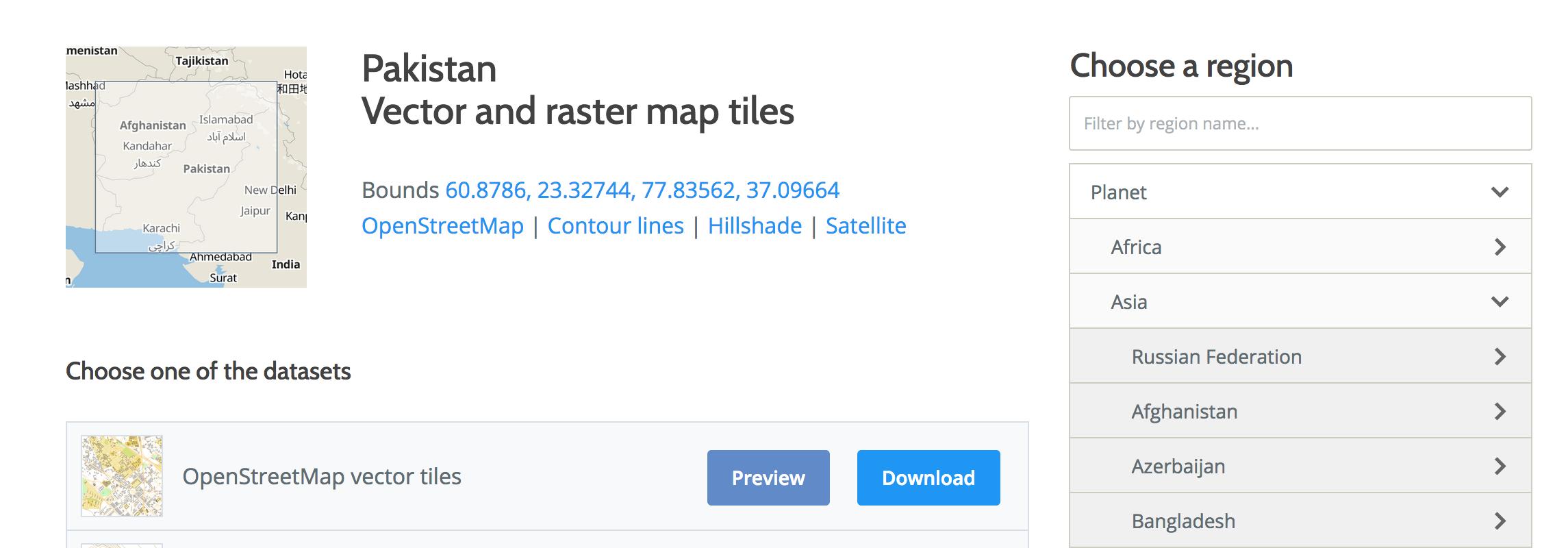 Vector Tiles data Pakistan