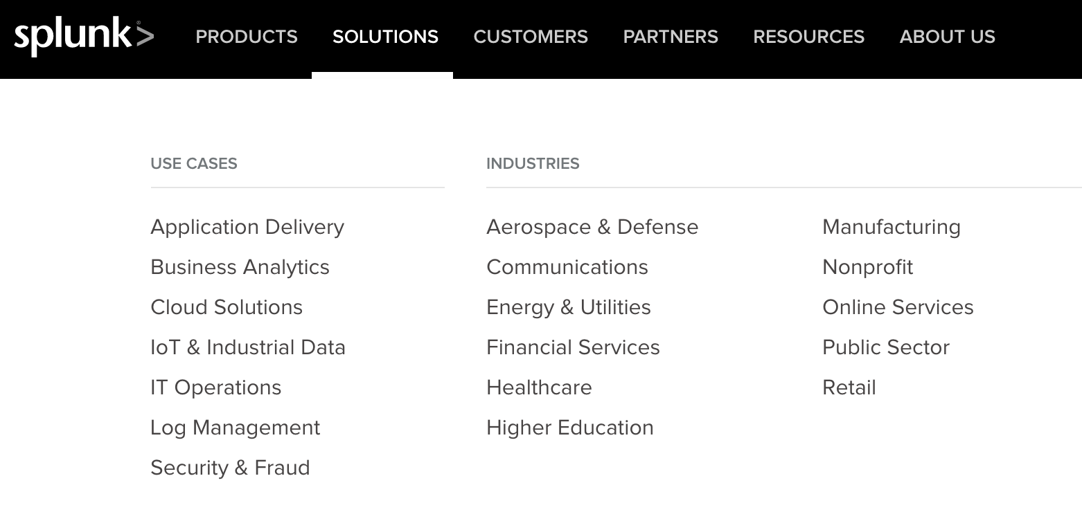 Example of SEO Solution Pages by Splunk