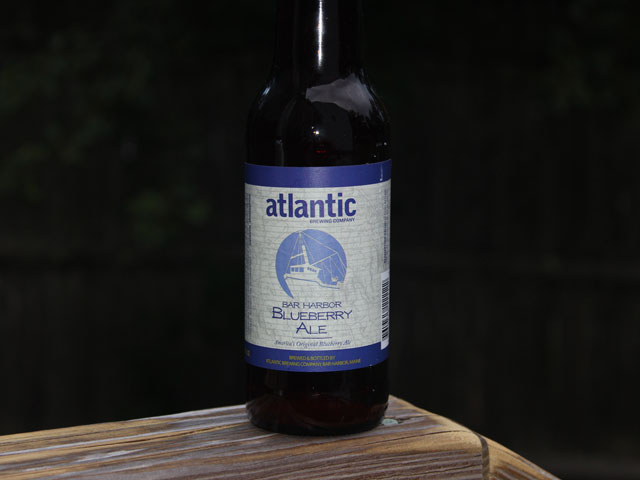A bottle of Atlantic Brewing Company's Bar Harbor Blueberry Ale