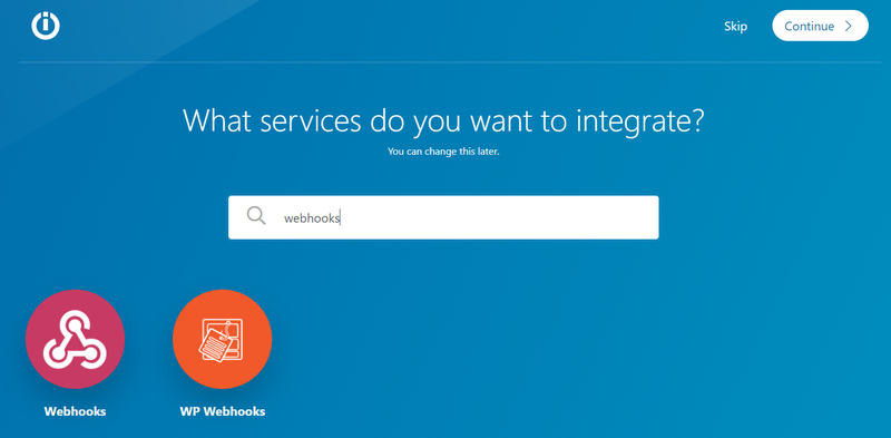Choose webhook from the list of applications