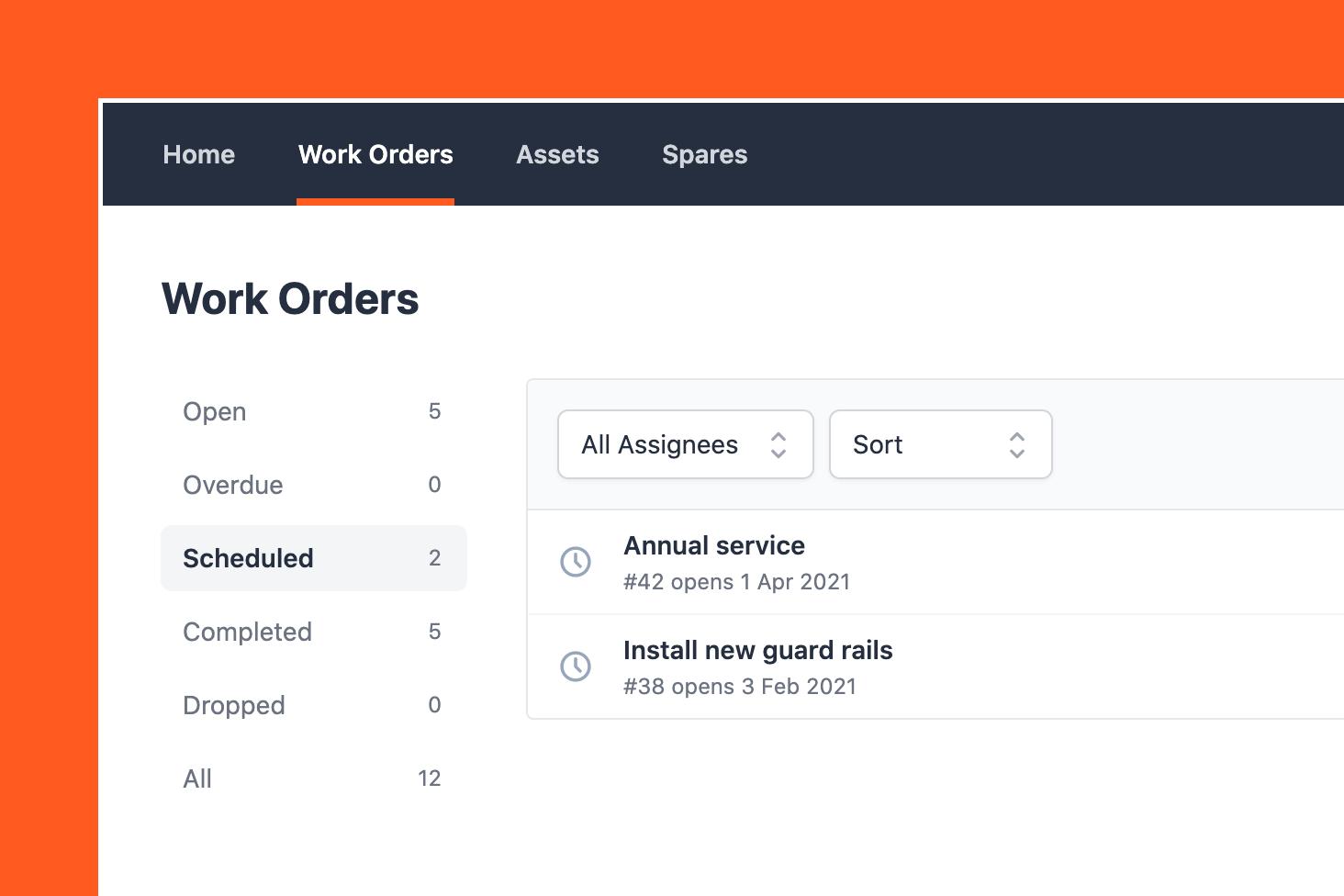 Scheduled work orders