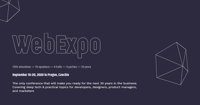 WebExpo is a Prague event for user experience, design and web development professionals