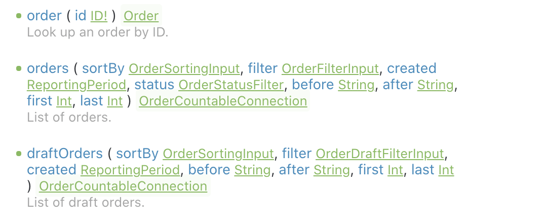 GraphQL-Doku einiger Queries, unter anderem order und orders