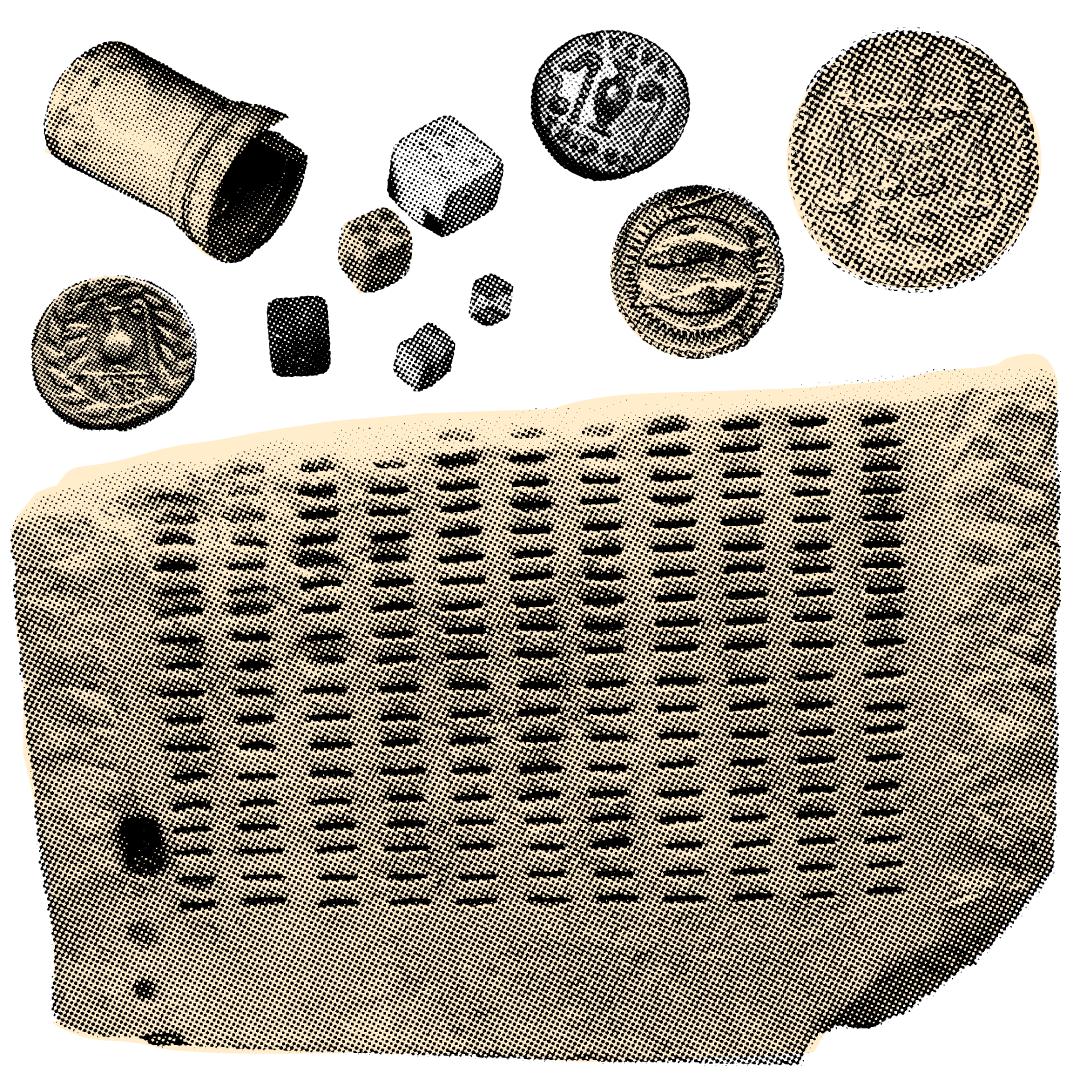 Клеротерион, жетоны, каменные кости. Иллюстрация: Букмейт