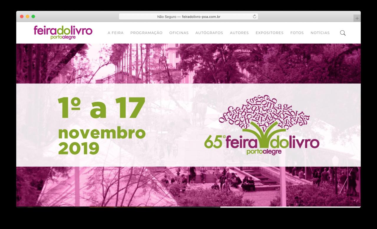 Captura de tela do site da Feira do Livro de Porto Alegre