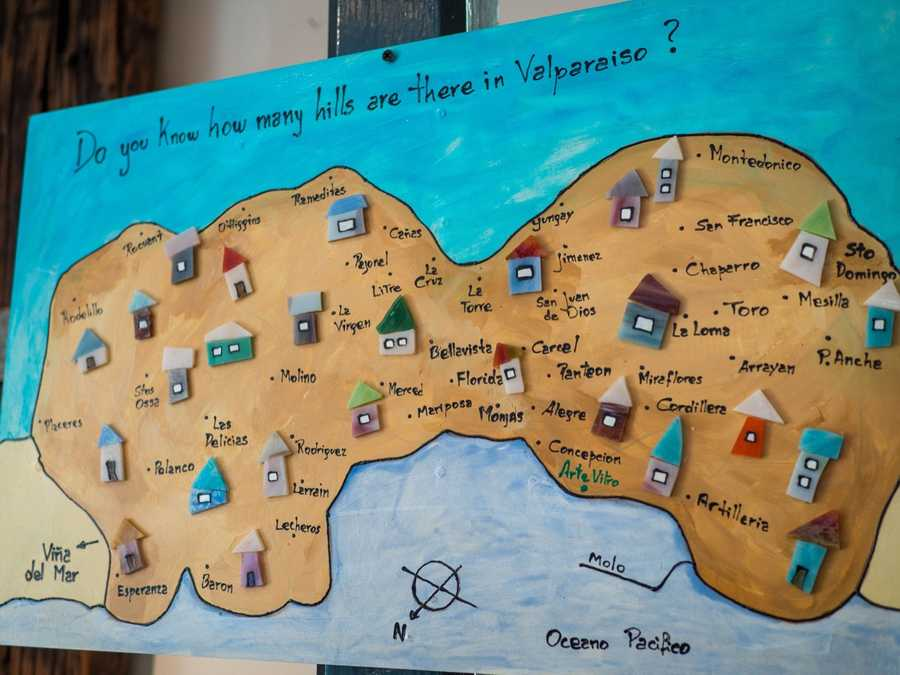 This map shows all the different hills in Valparaiso