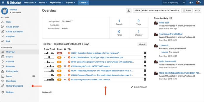 rollbar bitbucket screenshot 146968 l