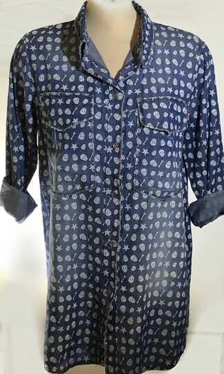 Italian Skulls Denim Long Shirt