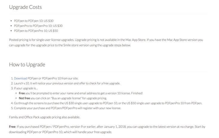 PDFPen Upgrade Details