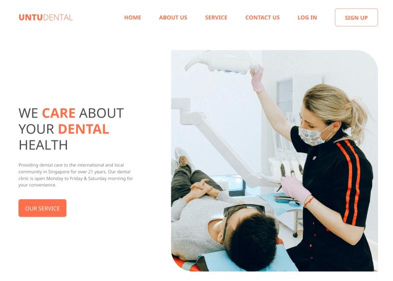 screenshot of Untu Dental Website