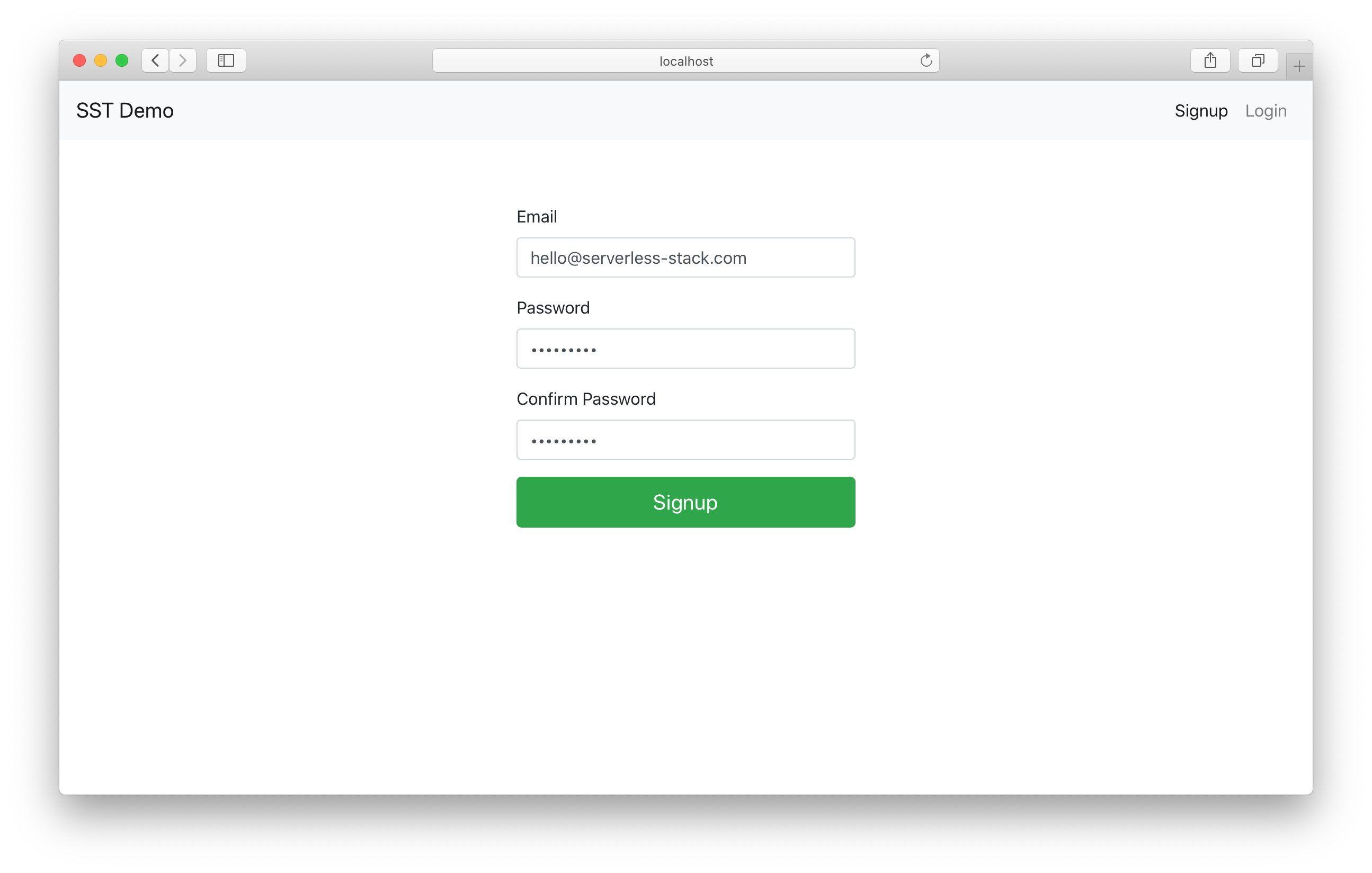 Sign up with Cognito in React.js app