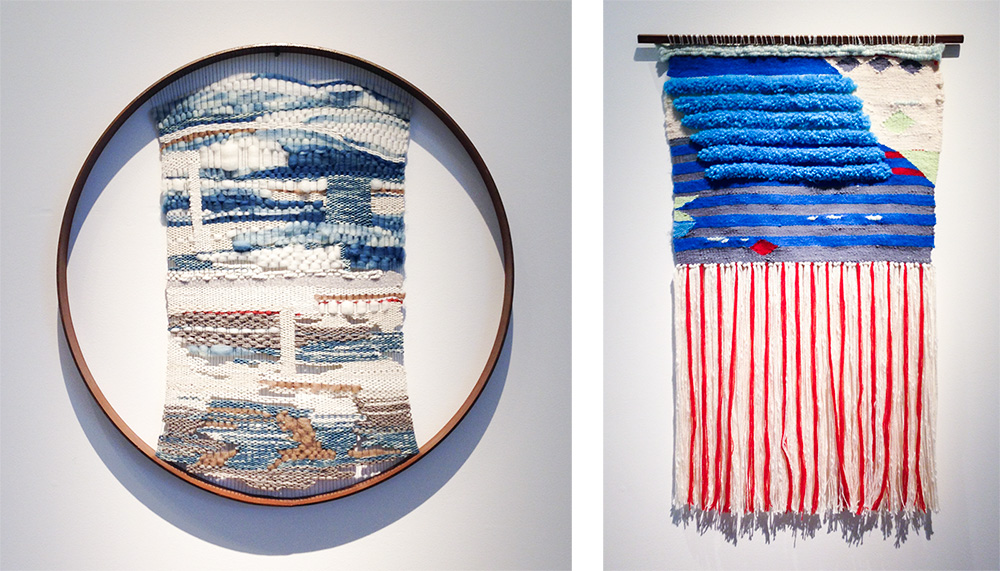Circular tapestry by Analise Stukenborg and weaving by Sarah Sullivan that looks vaguely like an American flag