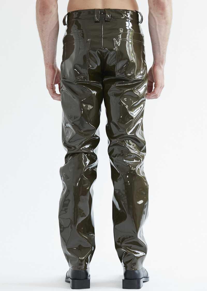 Thor Vinyl Trousers Khaki. GmbH SS20  Spring Summer 2020 collection. Available at gmbhgmbh.eu.