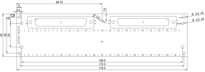DC37MF-TB2X19の外形寸法図