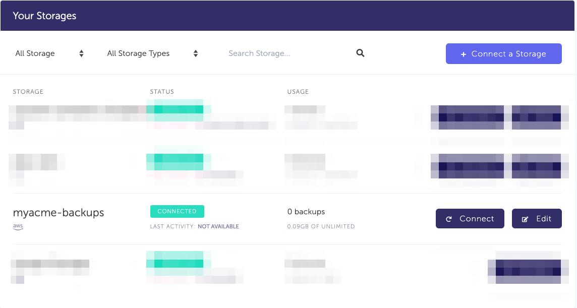 Storage list with newly created AWS S3 storage