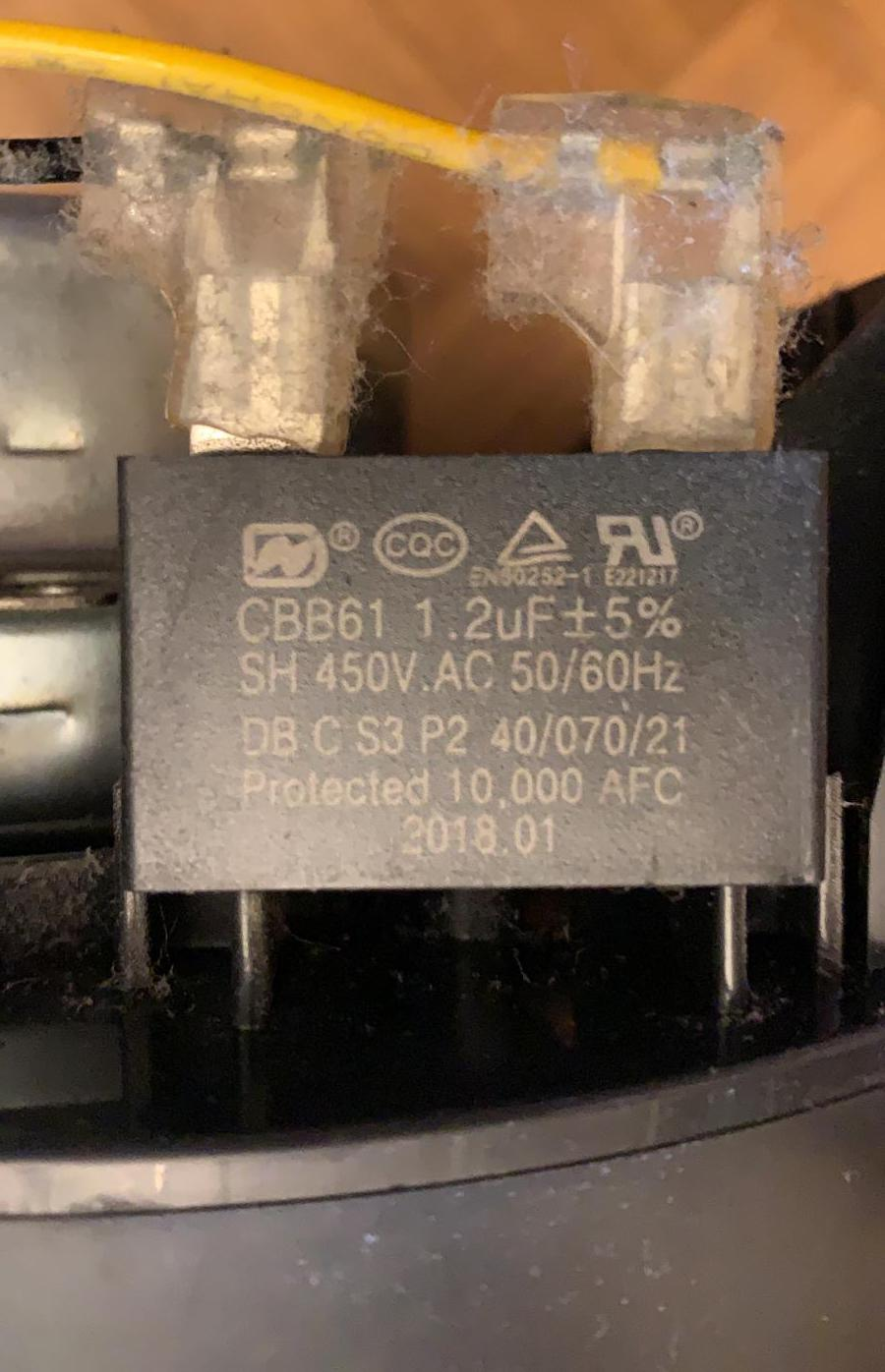 The Starter Capacitor on the Main Fan Motor