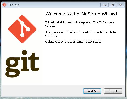Inicio da instalação do GIT