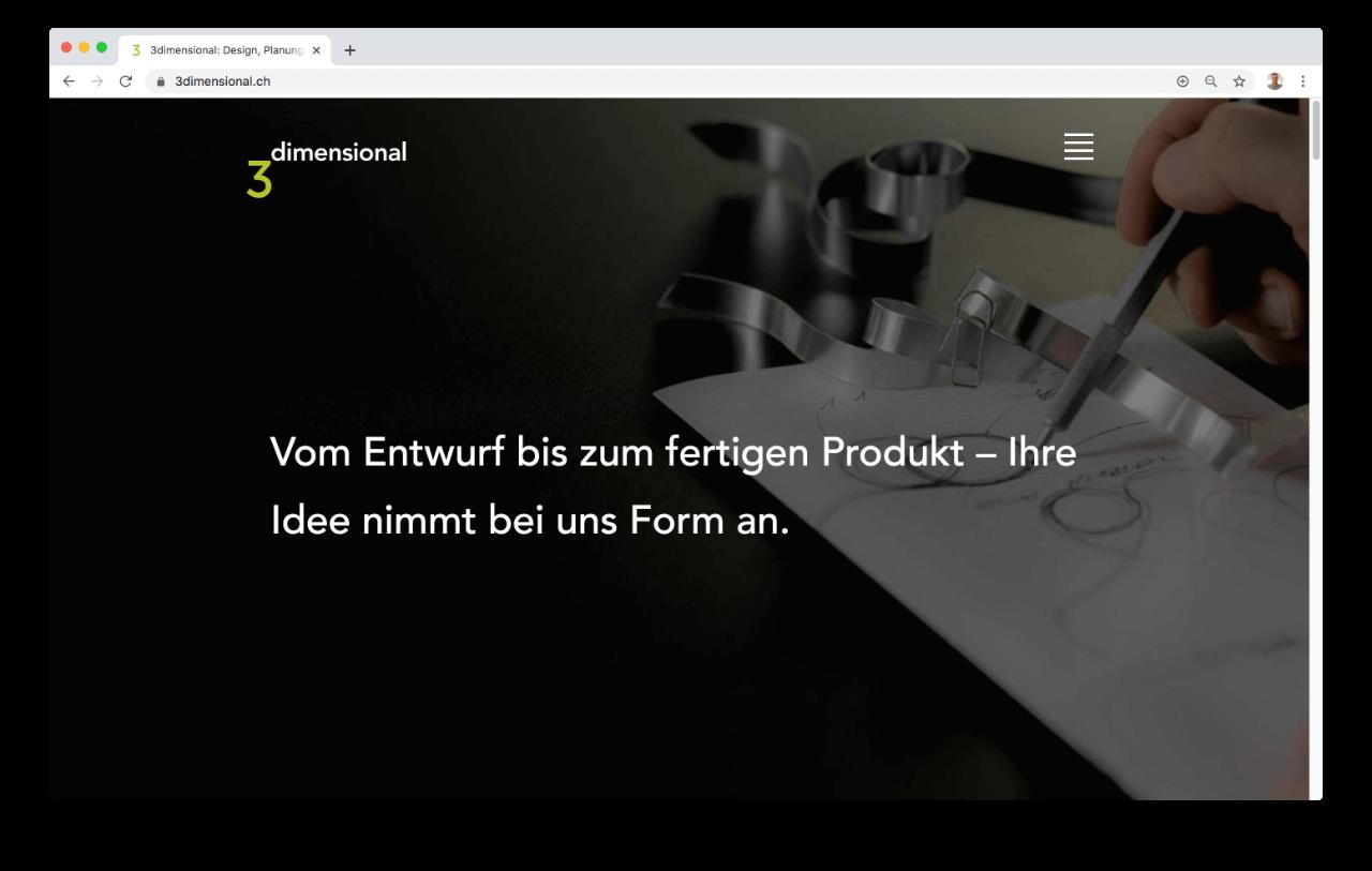 3dimensional Landingpage Screenshot