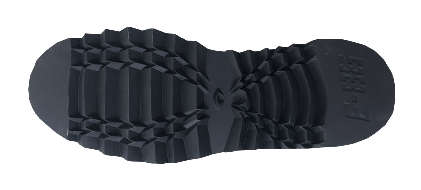 tread of shoe with a curving 'x', e-86 logo on the heel