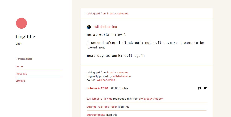 Blog theme with a light theme.