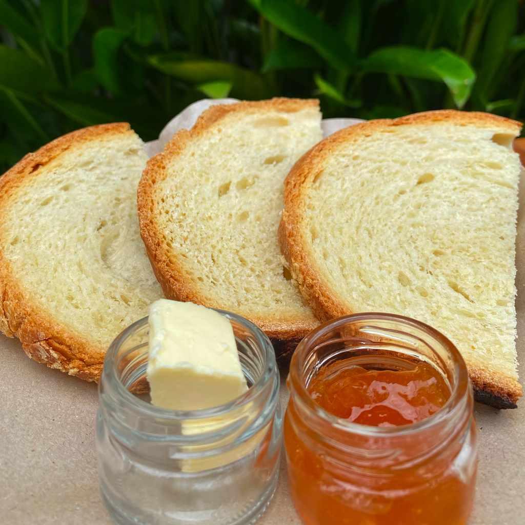breakfast: bread jam & butter