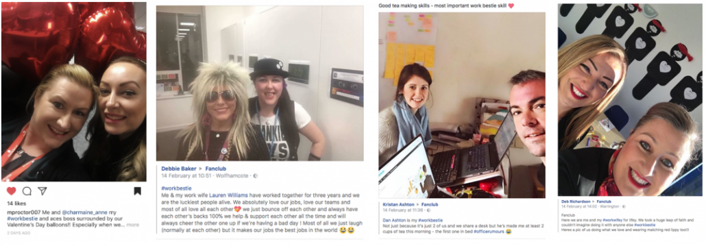 Collage of images from Fanclub's #WorkBestie