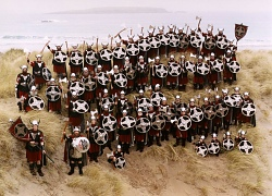The 2003 Jarl Squad at West Sandwick beach, Yell. Photo by John Coutts.