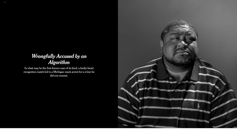 Screenshot from a New York Times article 'Wrongfully Accused by an Algorithm'