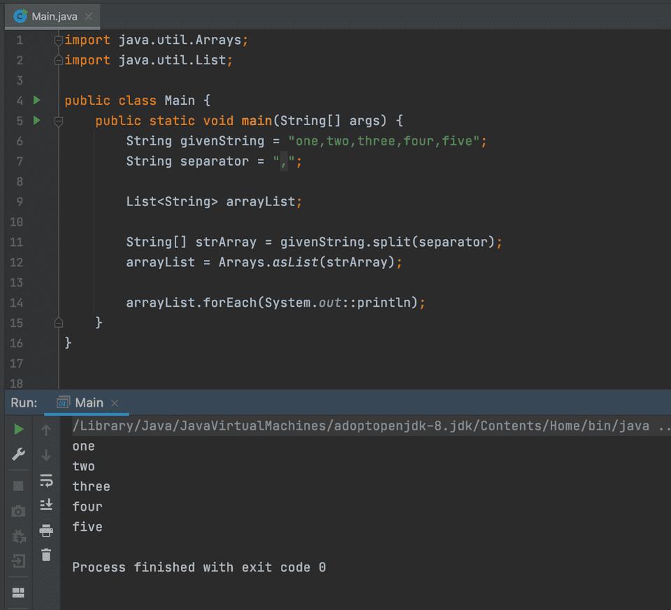 java convert string to arraylist