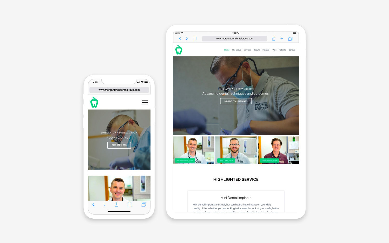 Morgantown Dental Group website- mobile/tablet view