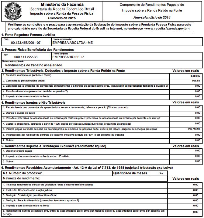 Informe de rendimentos - modelo