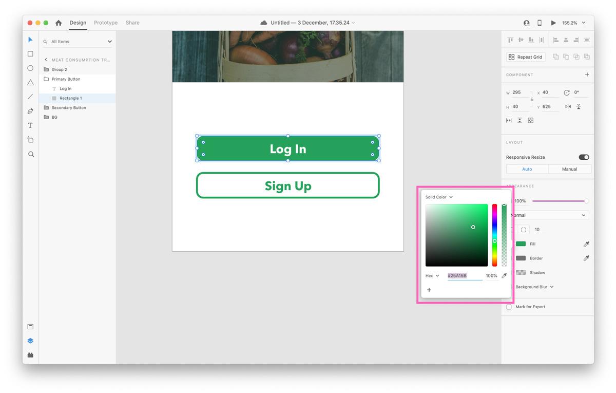 Using the Color Picker in Adobe XD