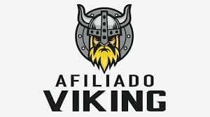 Desenho da imagem da cabeça de um viking a frente de um escudo, embaixo o título Afiliado Viking