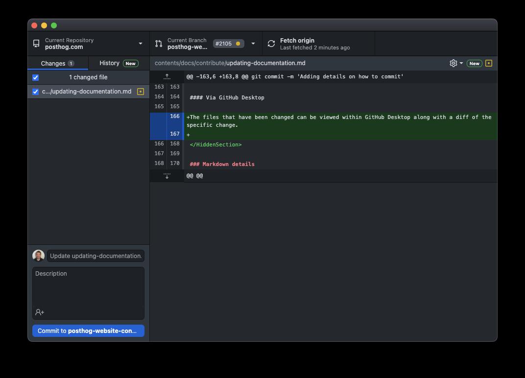 Viewing changes in GitHub Desktop