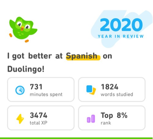 Duolingo 2020 year in review screenshot