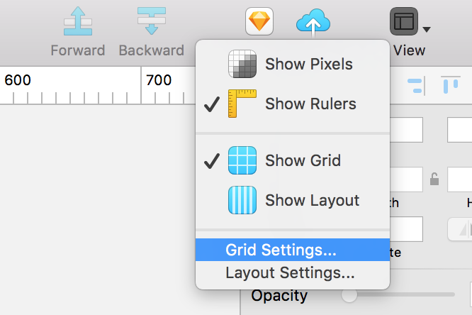 Screenshot showing where you can edit the grid options in Sketch.