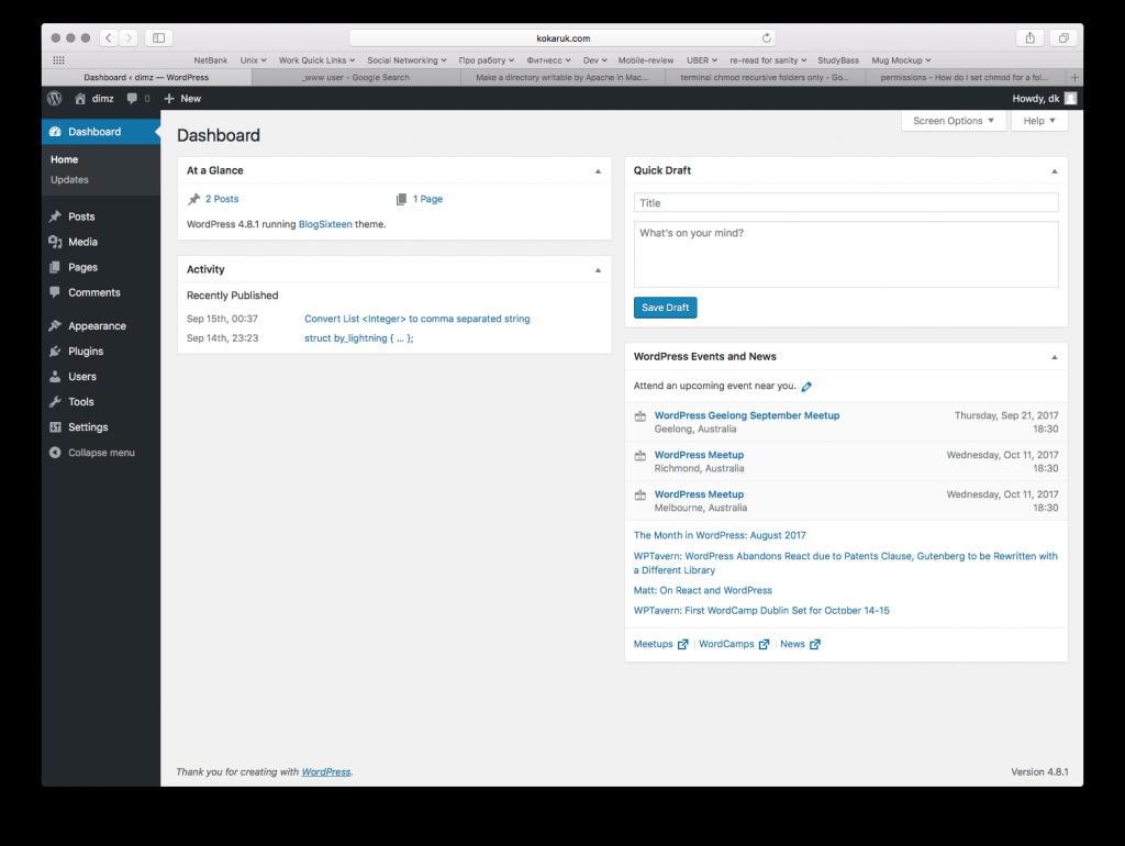 Wordpress main panel