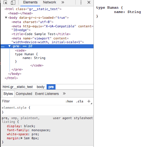 Code sample with no styling