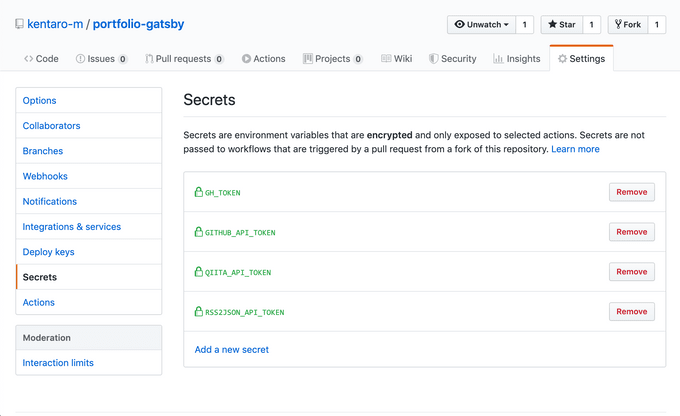 GitHub ActionsのSecrets設定