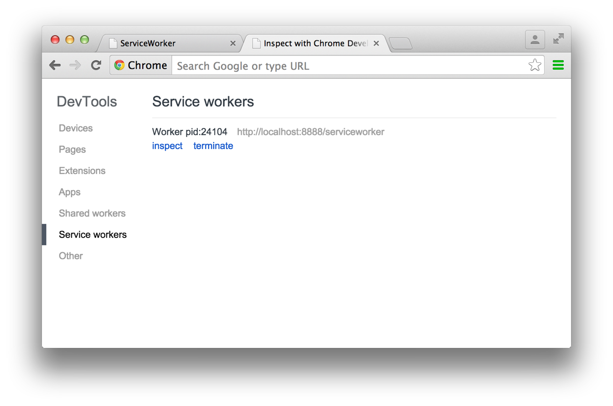 Chrome Inspect for DevTools