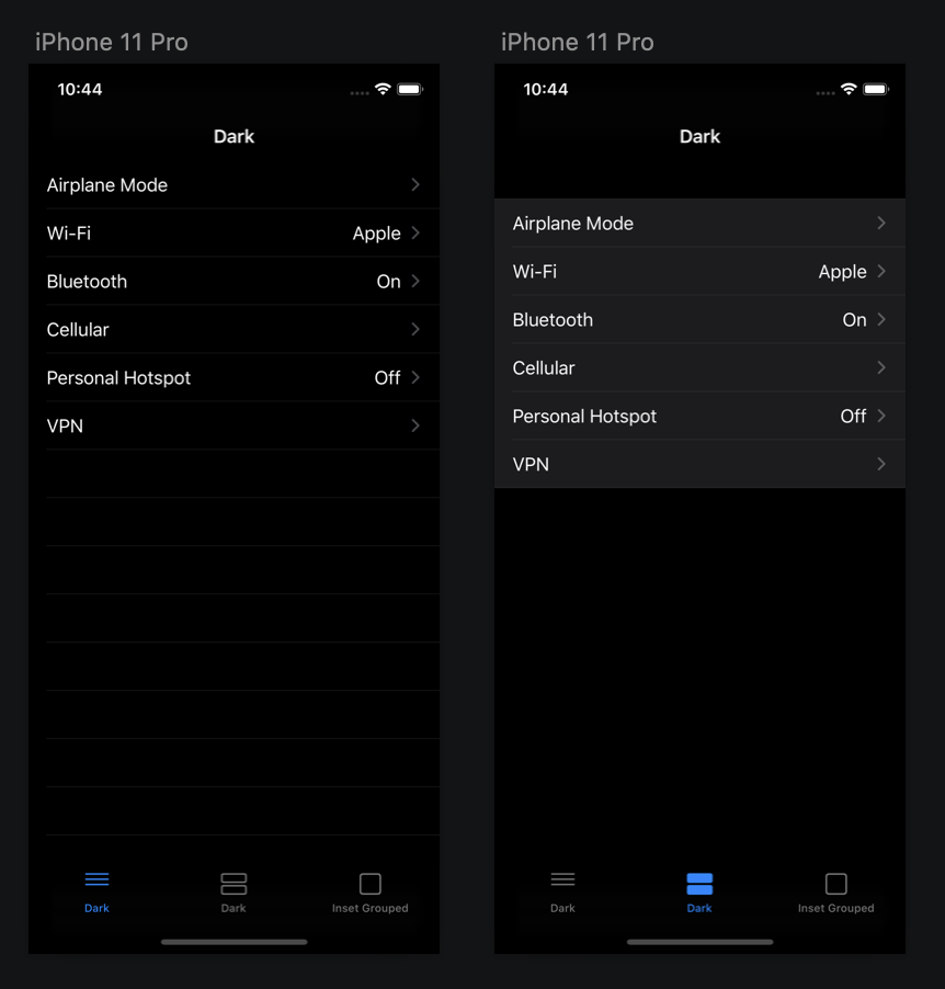 Examples of grouped and non-grouped view in dark mode