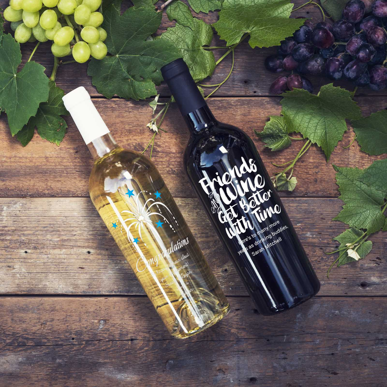 Personalized etched white wine and red wine bottles