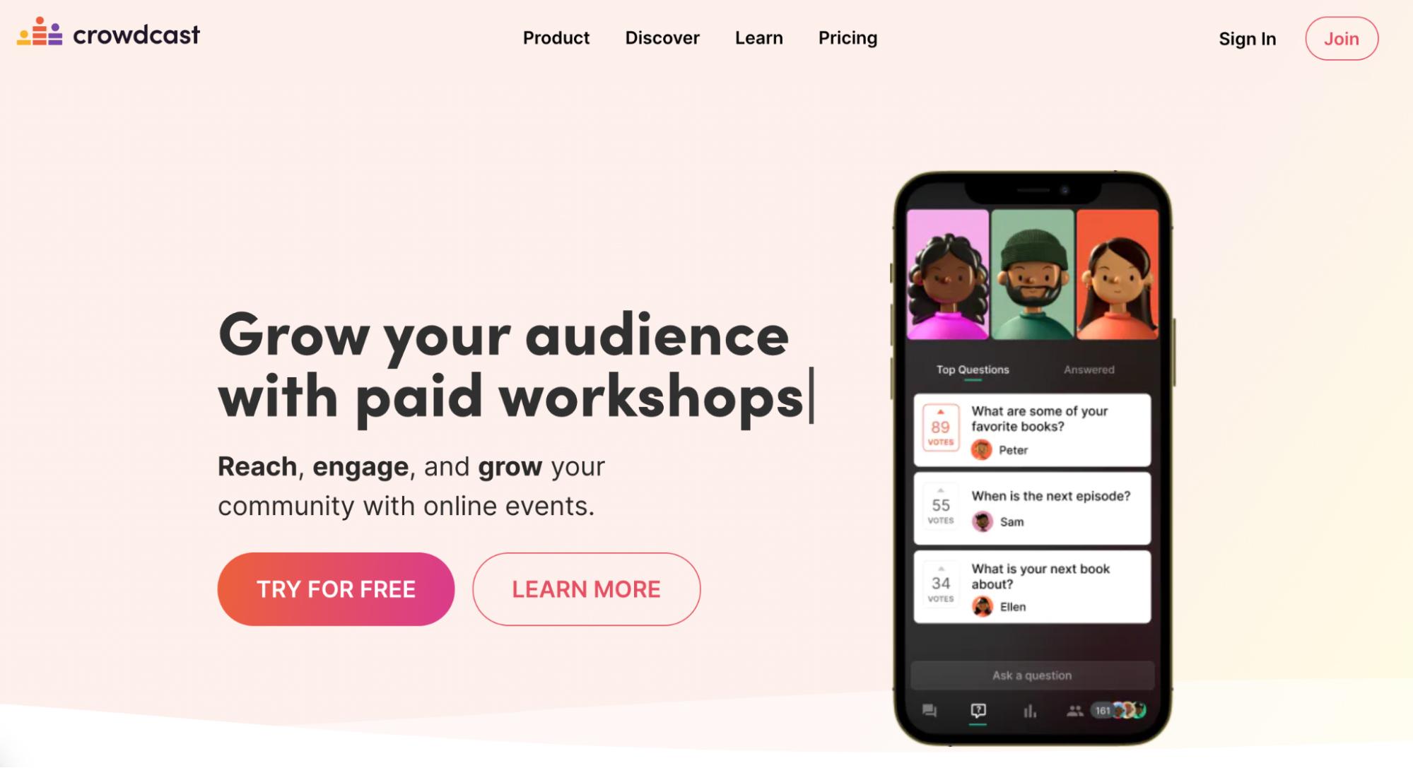 SaaS Marketing Automation Tools: Crowdcast Screenshot
